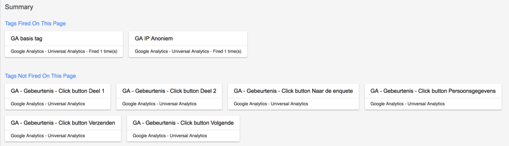Google Tag Manager onderwaterscherm